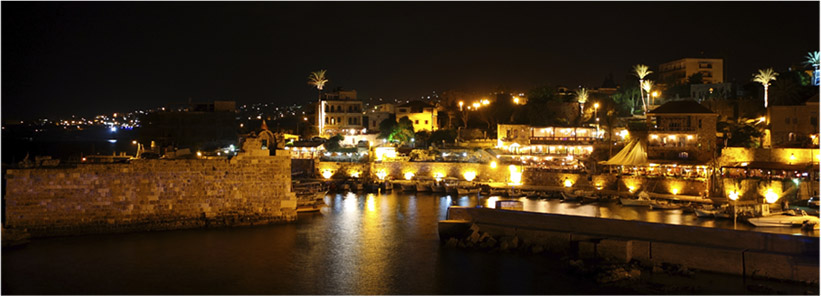 The ancient city of Byblos at night